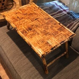 Collapsible bamboo tray table